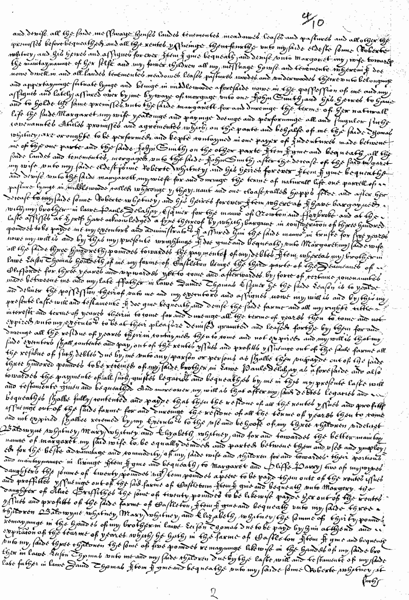Will of Thomas Whitney of Clifford 1610 Page 2.png