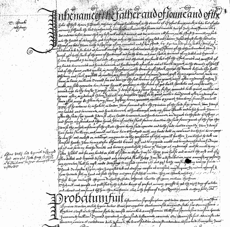 Will of Brooke Whitney of Long Hanborough, Oxfordshire, 1624.png