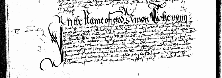 Will of William Whitney of Aberllunvey, Breconshire 1564 Page 1.png