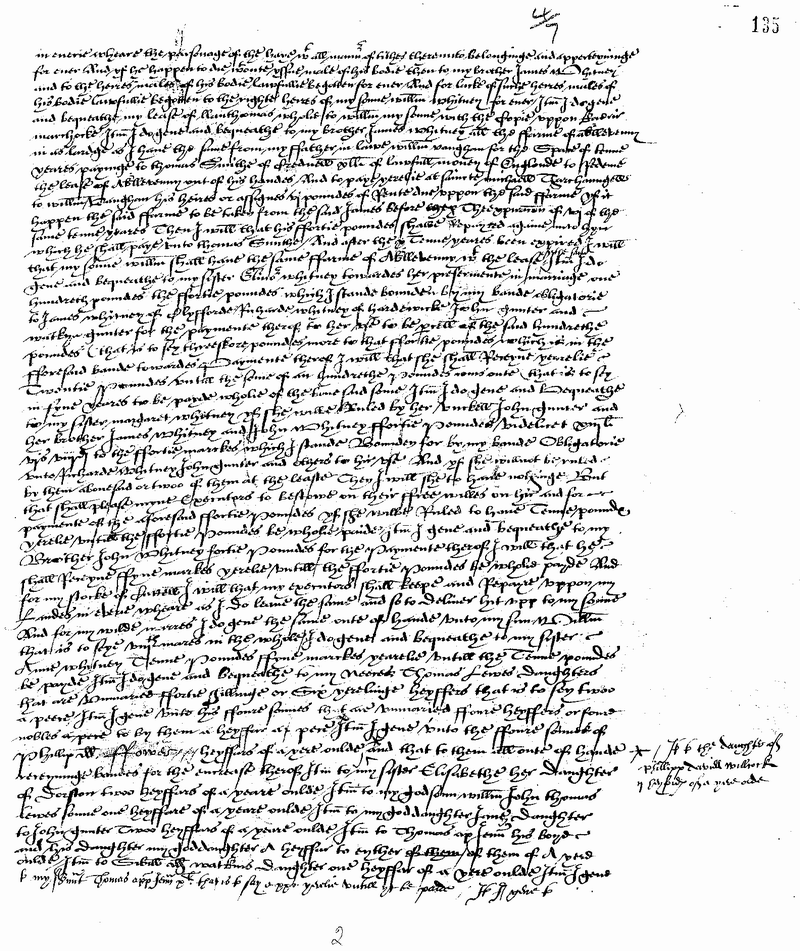 Will of William Whitney of Aberllunvey, Breconshire 1564 Page 2.png