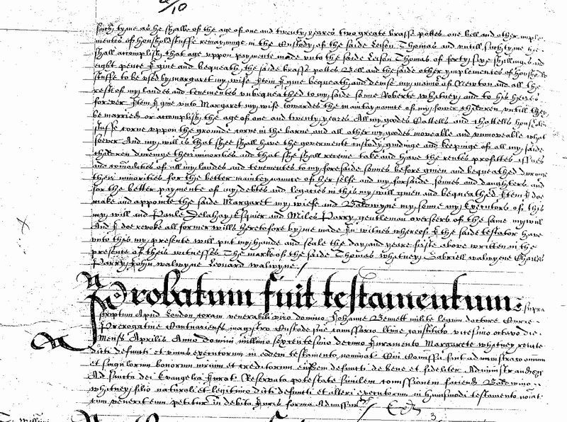 Will of Thomas Whitney of Clifford 1610 Page 3.png