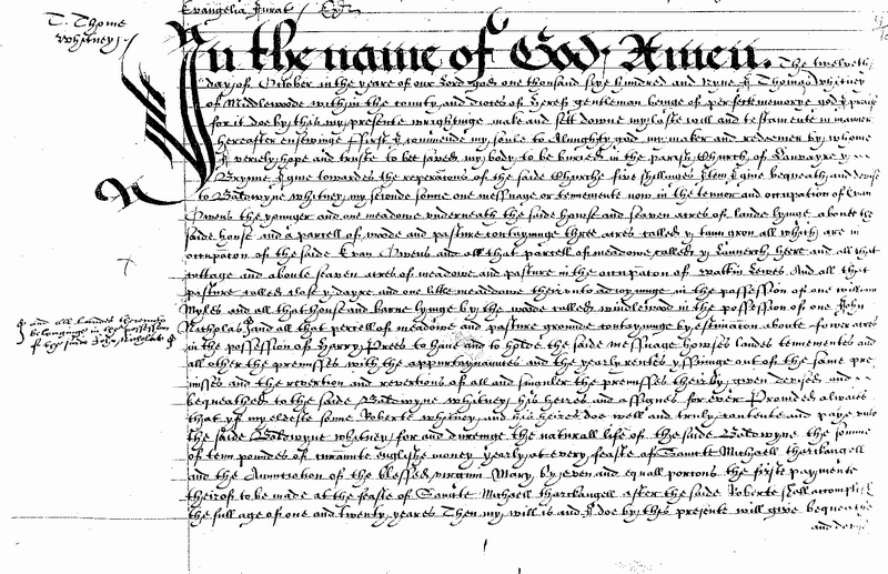 Will of Thomas Whitney of Clifford 1610 Page 1.png
