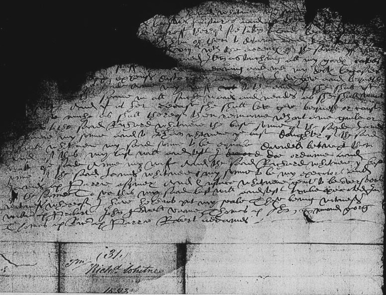 Will of Richard Whitney, 1583 Page 3.jpg