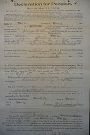 Declaration for Pension, 1912